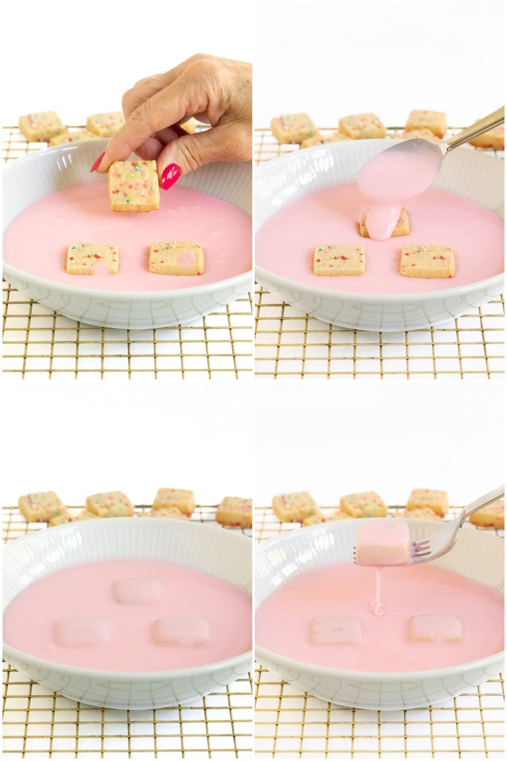 4-photo process collage of how to apply the pink glaze for making Sugar Plum Fairy Shortbread Bites.