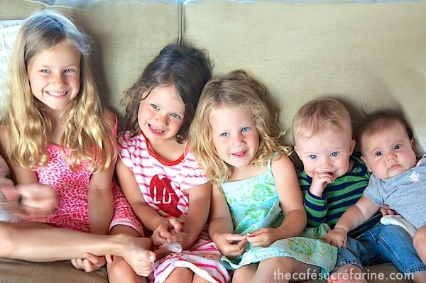 Photo of four girls and one boy ready for bedtime.