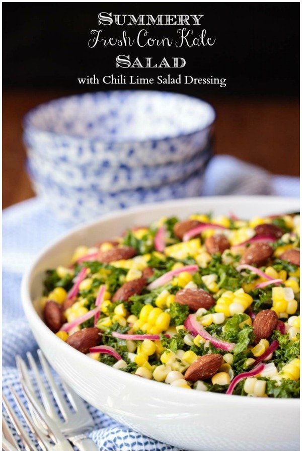 If you love summery salads that are fresh, healthy and bursting with flavor, this Fresh Corn Kale Salad needs to be on your must-make list! #kalesalad, #bestkalesalad, #kaleandcornsalad, #asiankalesalad, #healthysalad