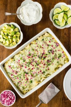 Super Easy Chicken Enchiladas Verde - with a few easy shortcuts, have these delicious enchiladas on your table in less than an hour.