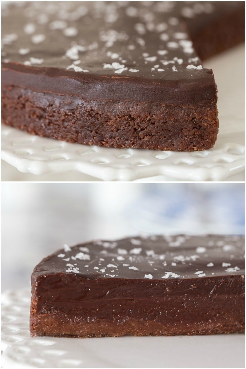 Closeup collage of a Swedish Chocolate Sticky Cake featuring it's interior and exterior consistency.