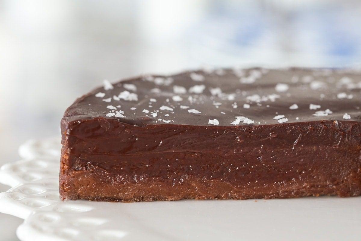 Ultra closeup photo of the inside of a Swedish Sticky Chocolate Cake (Kladdkaka).