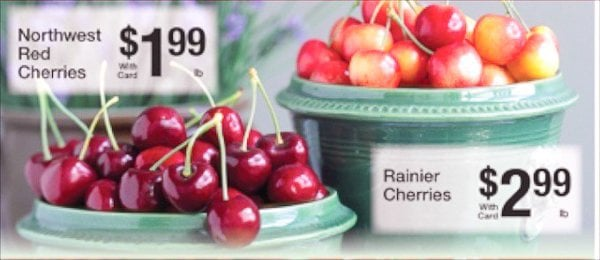 Advertisement for fresh Northwest and Rainier cherries