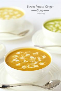Sweet Potato Ginger Soup - a template for a healthy, super delicious soup that you can swap out lots of different veggies!