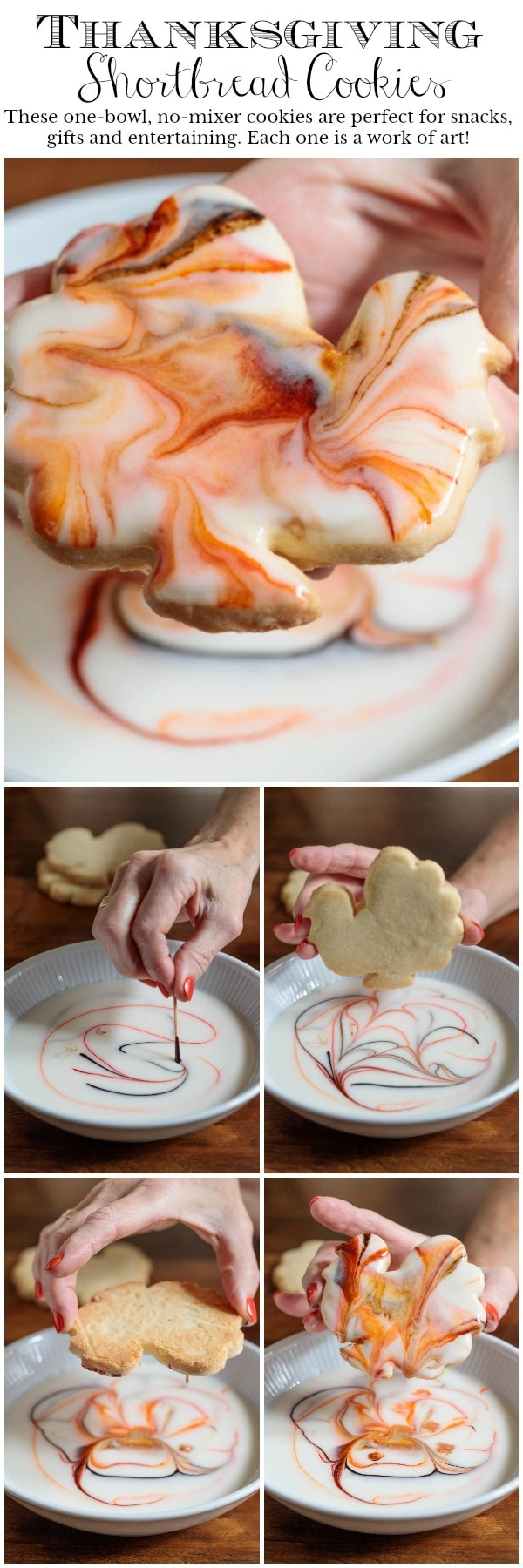 These one-bowl, no-mixer Thanksgiving Shortbread Cookies are great for gifts and entertaining. Each one is a beautiful work of art!#thanksgivingcookies, #easyholidaycookies, #easycookiedecoration