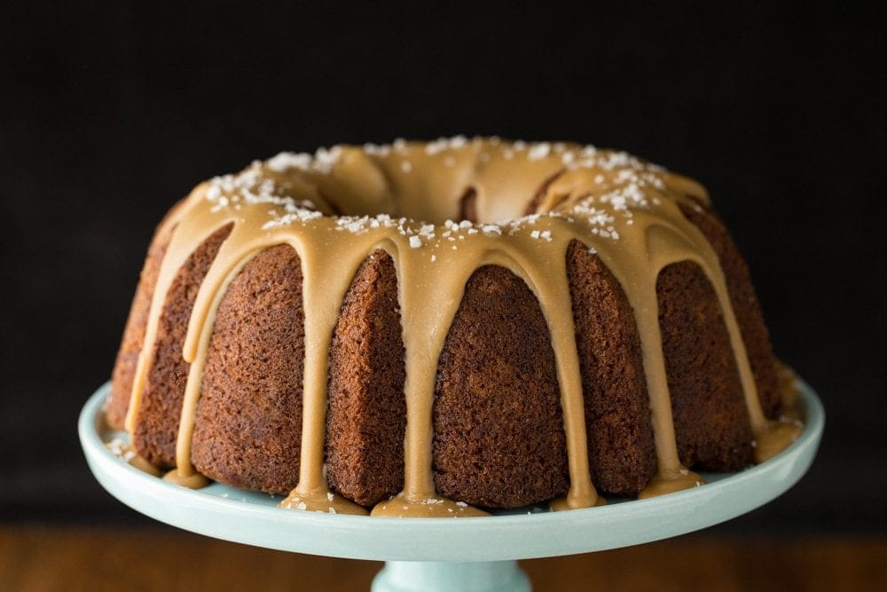 Banana Pound Cake with Salted Toffee Icing - the most delicious, easy banana cake you'll ever make! thecafesucrefarine.com