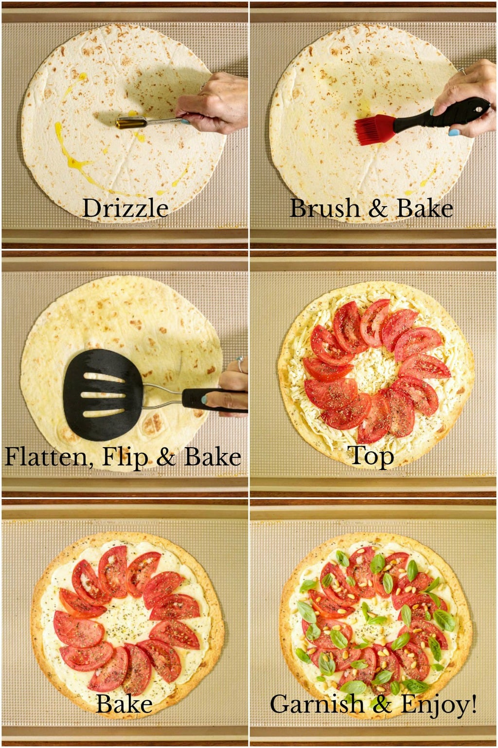 How-to tutorial collage of photos demonstrating the process of making an Easy Thin Crust Pizza.