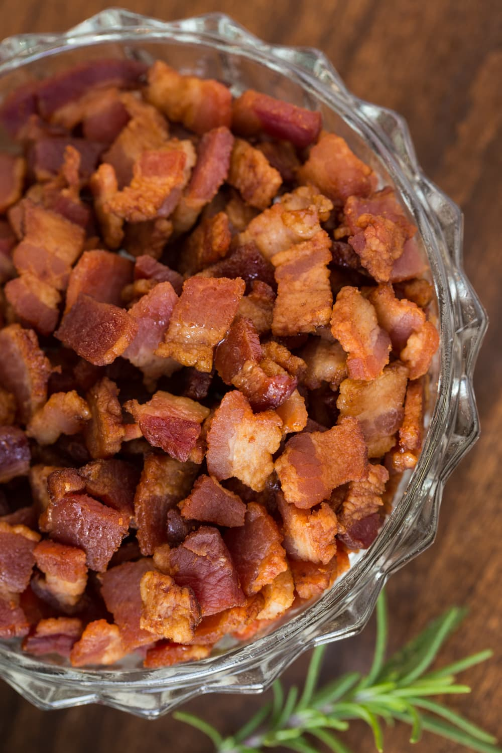 Close up view of diced, cooked bacon