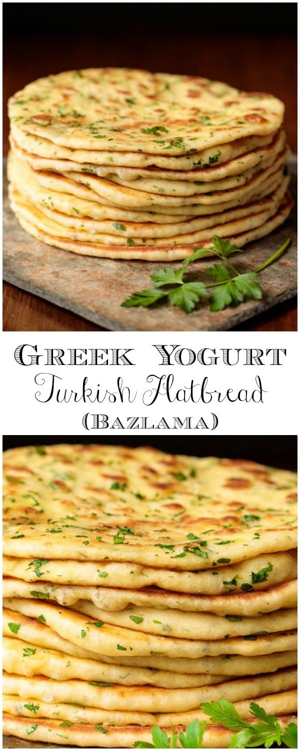 This delicious, pillowy soft Turkish Flatbread is an easy, one-bowl-no-mixer recipe. It's perfect with hummus, tabouli, for wraps and more! #pita, #flatbread, #turkishflatbread #easyrecipe #easyflatbread