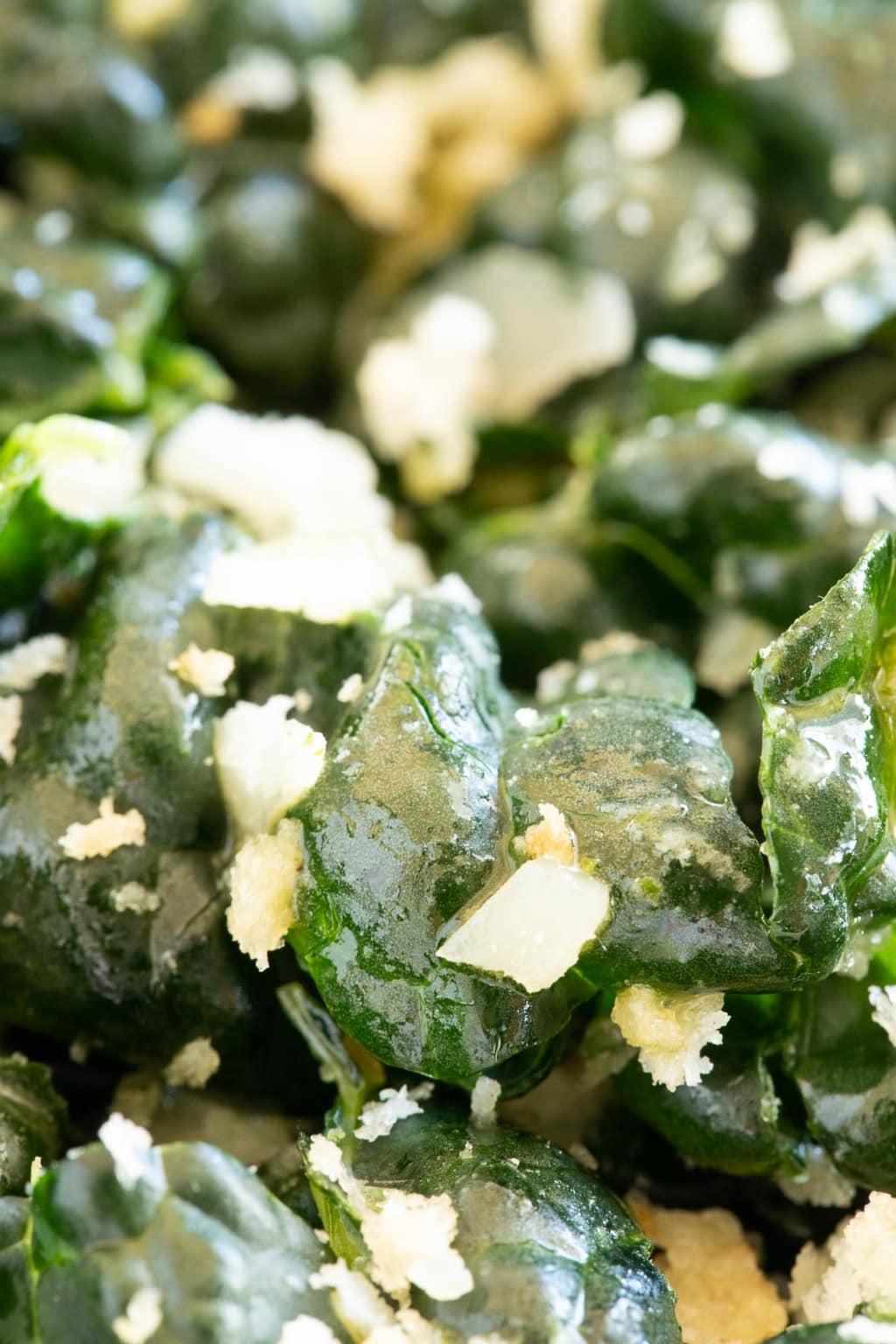 Vertical extreme closeup photo of Tuscan Kale Salad.