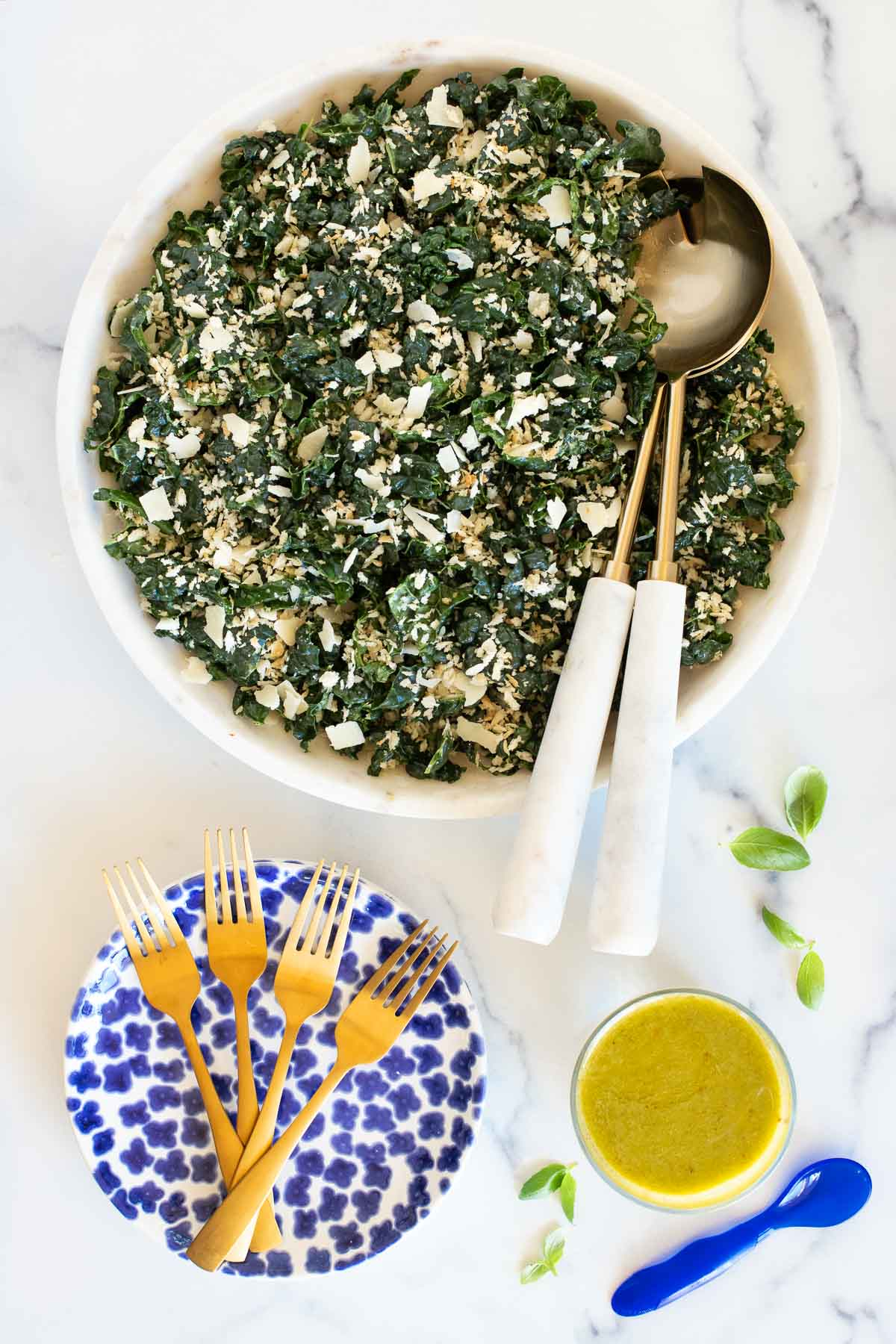 Vertical overhead picture of Tuscan Kale Salad in a white bowl