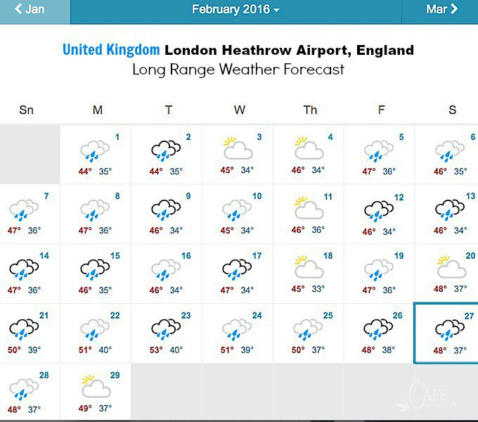 United Kingdom London Heathrow Airport, England Long Range Weather Forecast