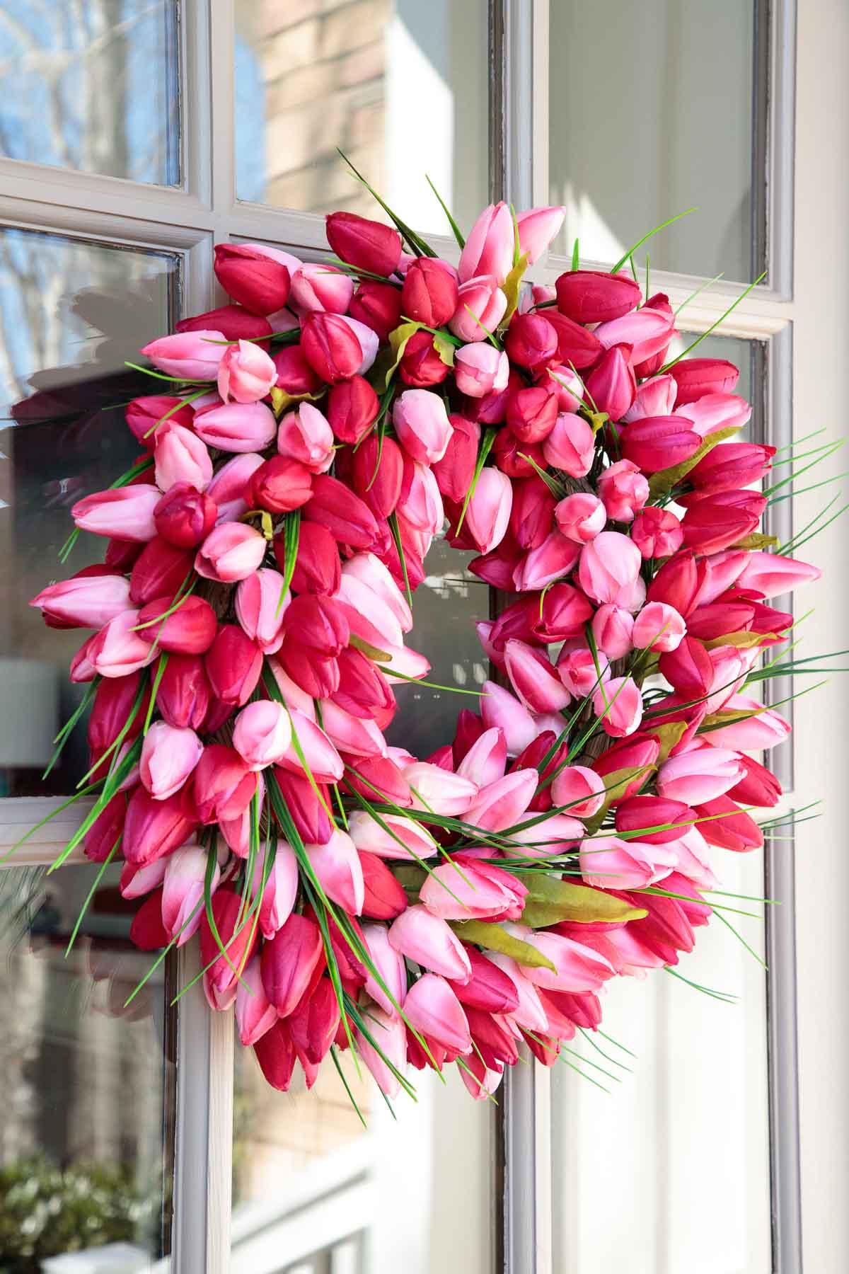 Photo of a spring tulip door wreath on Amazon.com