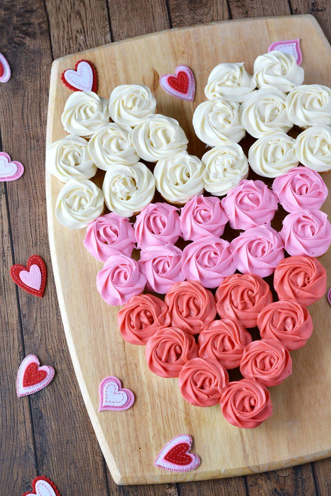 Overhead photo of Valentine Cupcake Heart on a cutting board from The Rebel Chick website.