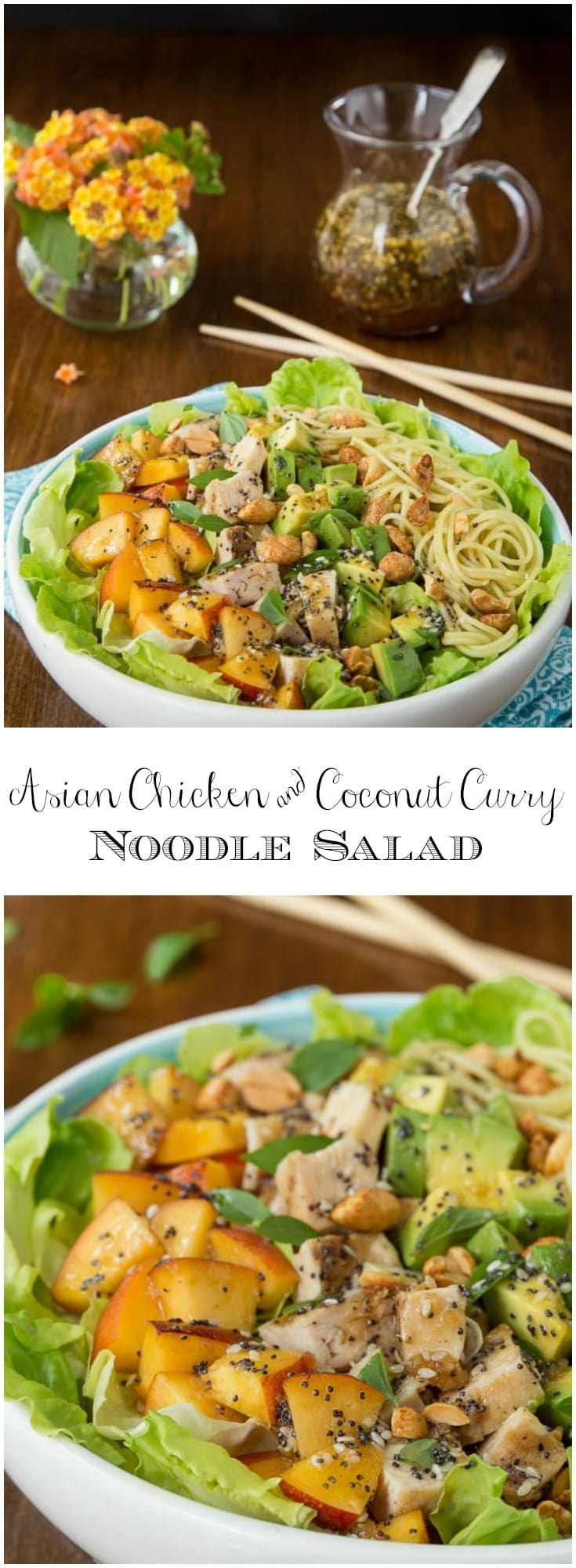 A fabulous Asian-inspired salad with lean chicken and coconut curry noodles. Fresh, healthy and crazy-delicious!