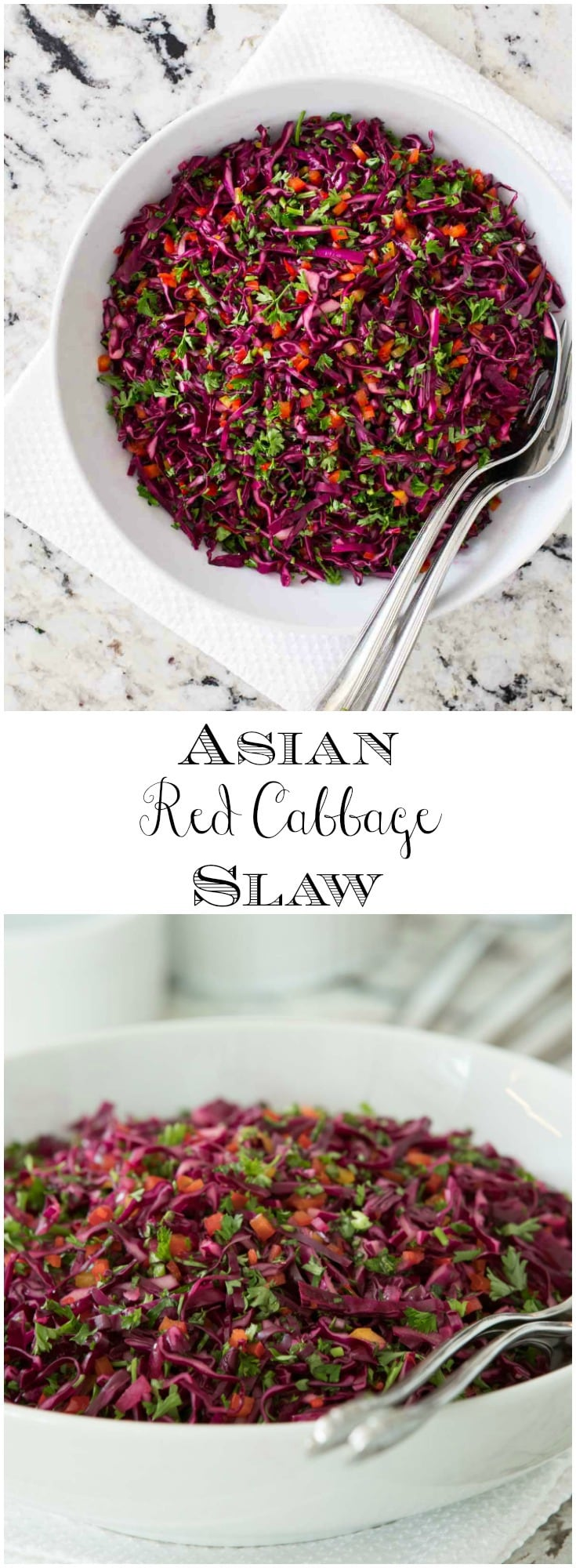 This fresh, healthy and delicious Asian Red Cabbage Slaw will take the boring out of everyday meals and entertaining menus. #redcabbage #salad #fresh #saladdressing #thecafesucrefarine #healthy #healthysaiad #Asiansalad