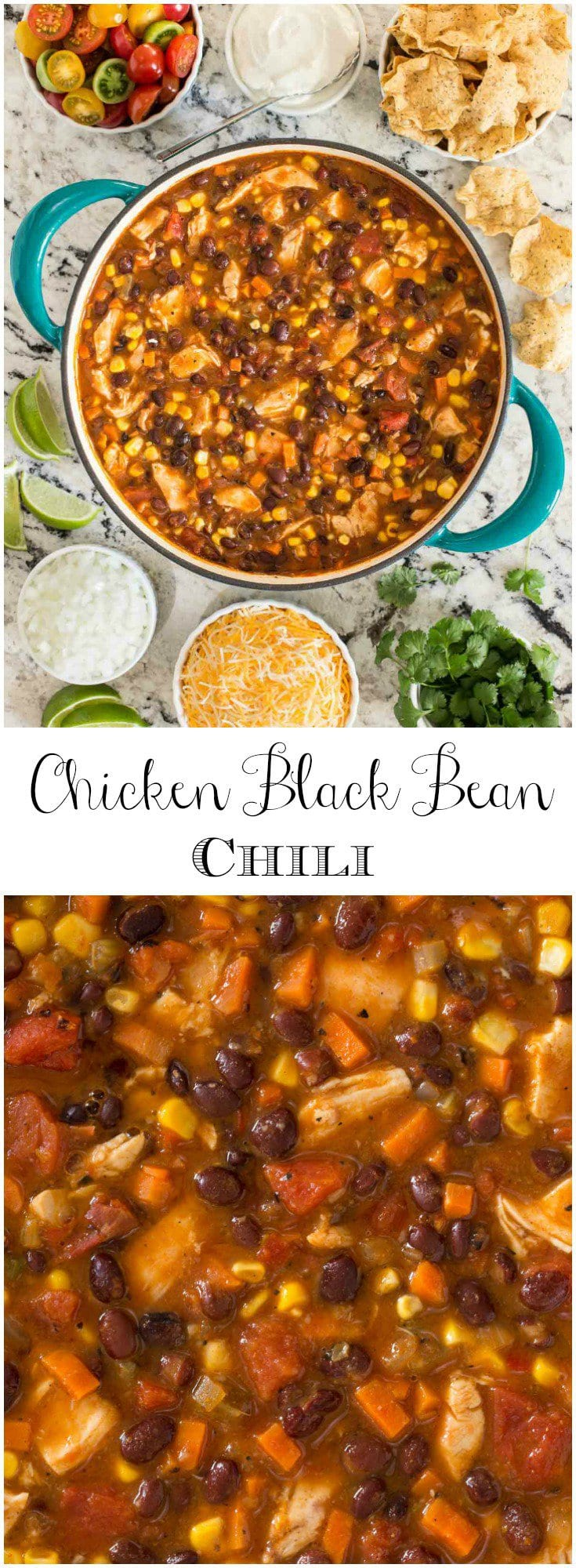 This healthy, delicious Chicken Black Bean Chili, made with rotisserie chicken and lots of fresh veggies, is a perfect way to warm up a chilly day.