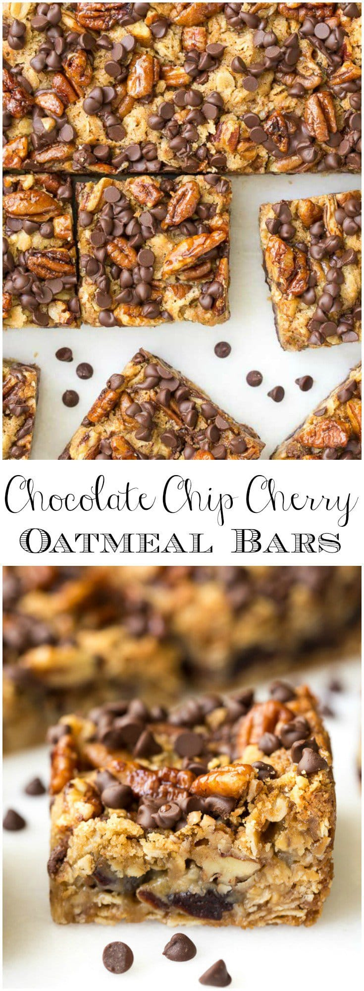 These Chocolate Chip Cherry Oatmeal Bars are a delicious sweet treat for any occasion. They come together quickly and always bring lots of