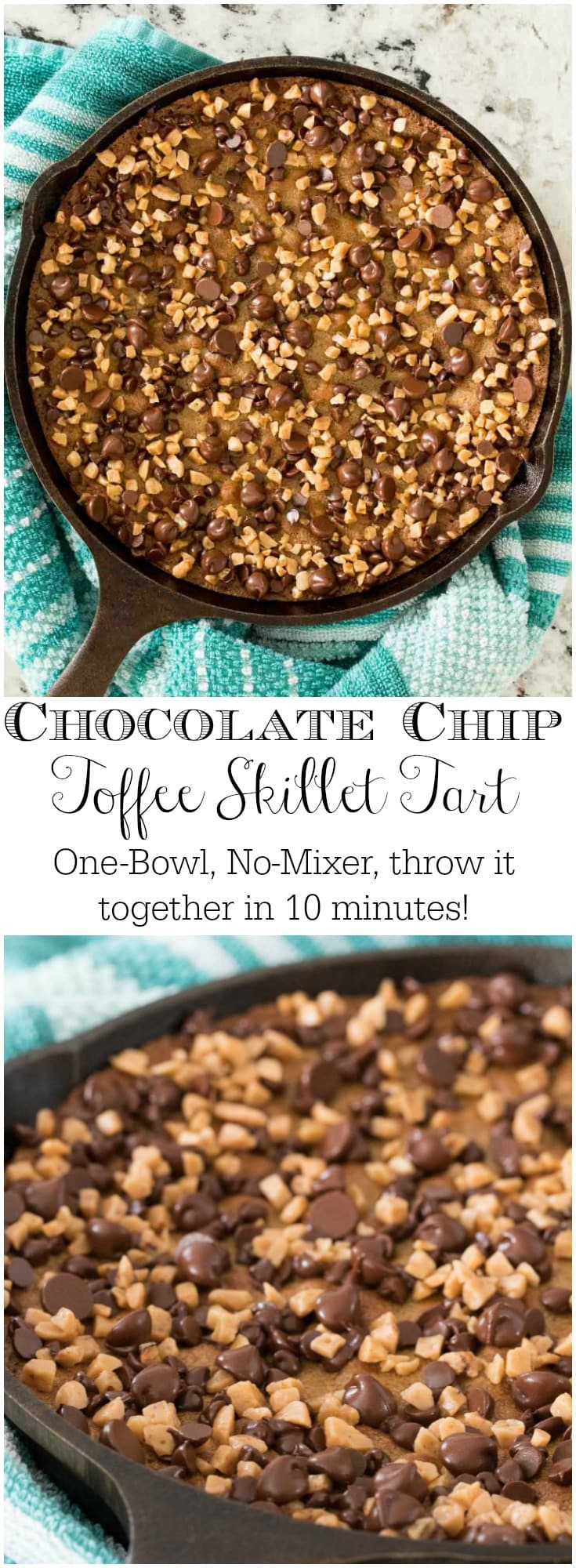 No time to make a fancy dessert? No one will know or care with this crazy-delicious, super-easy, one-bowl, 10-minute Chocolate Chip Toffee Skillet Tart!