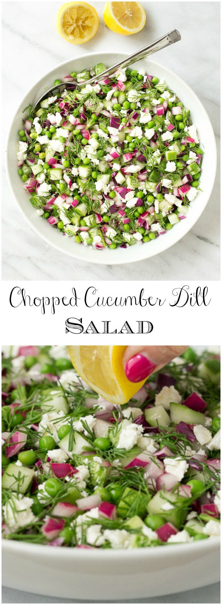 This simple Chopped Cucumber Dill salad pairs well with grilled entrees and is perfect for parties and potlucks. Make extra as leftovers are delicious!