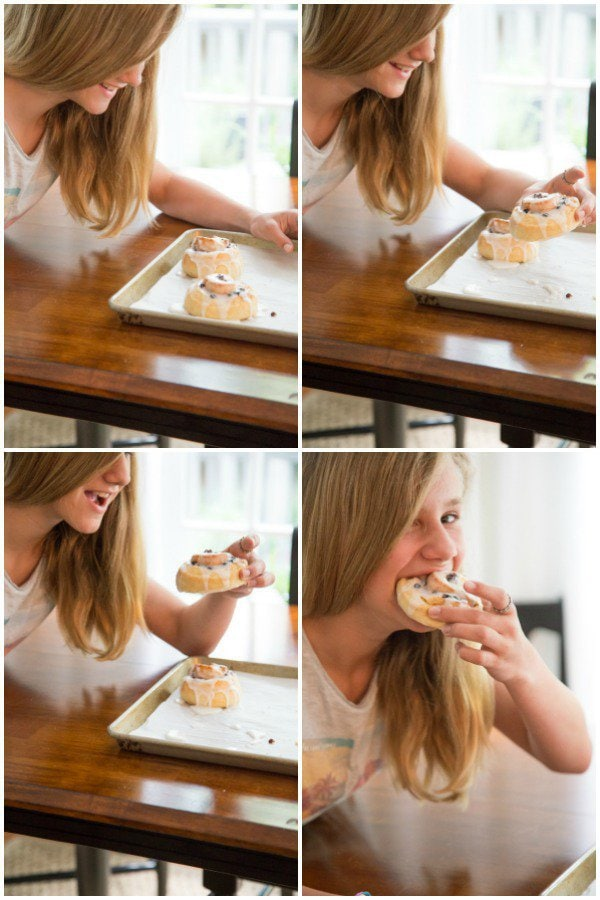 A collage of a progression of four shots of a young girl looking at and eating a Ridiculously Easy Cinnamon Roll.