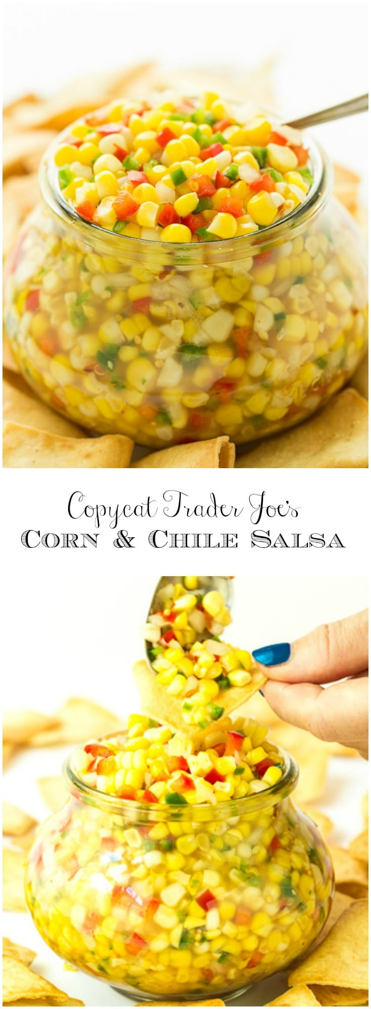 Addictingly delicious, this Copycat Trader Joe's Corn and Chile Salsa is wonderful with chips, on salads, sandwiches, quesadillas, pizza... you name it!