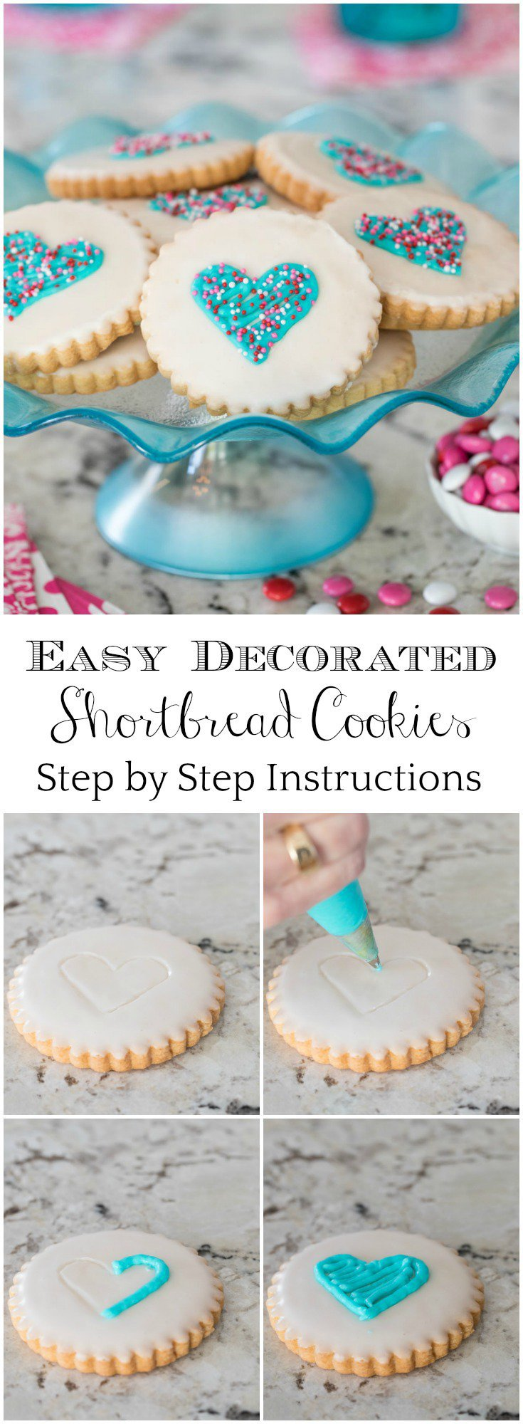 These delicious, Easy Decorated Shortbread Cookies are showstoppers - perfect for weddings, Valentines or just to say I love you!