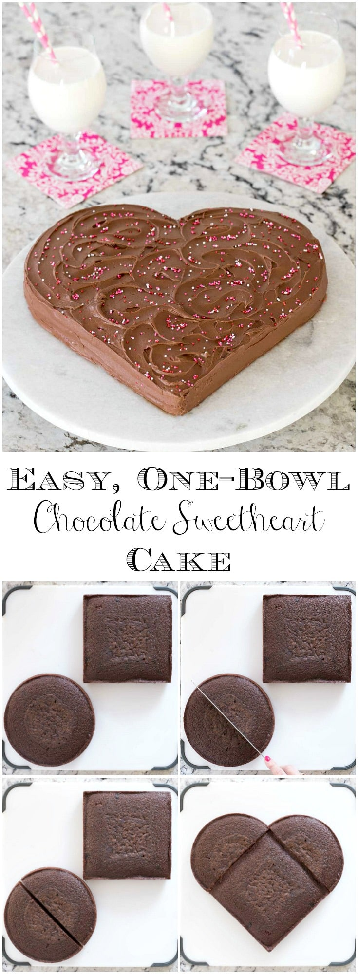 This Easy, One-Bowl Chocolate Sweetheart Cake is moist, delicious and all dressed up in Valentine clothes! Easy step by step instructions included! #chocolatecake #valentinesday #texassheetcake #valentinesdessert #easycakerecipe #onebowlcake #easycakedecorating #weddingcake