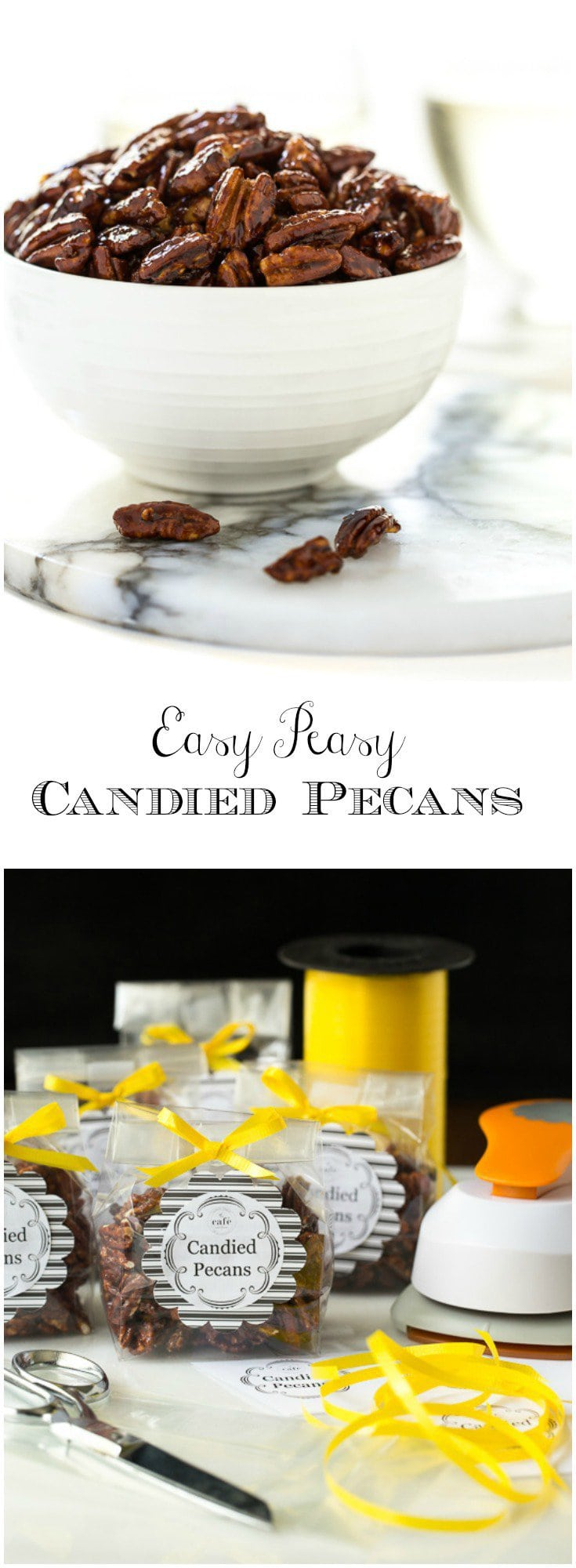 You'll find a zillion ways to use these Easy Peasy Candied Pecans... a delicious cocktail nibble, fabulous salad topping, awesome hostess gift...