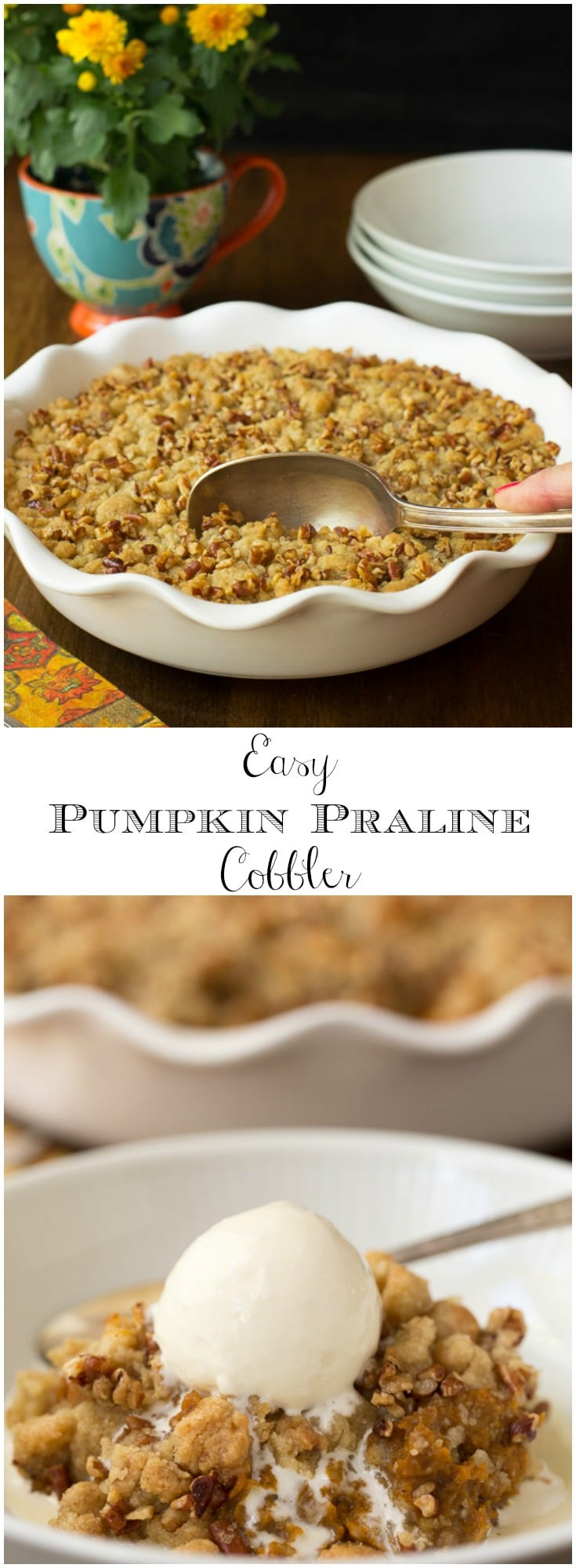 A buttery crumbly topping and lots of pumpkin filling makes a crazy good Fall dessert that comes together in less than 15 minutes!