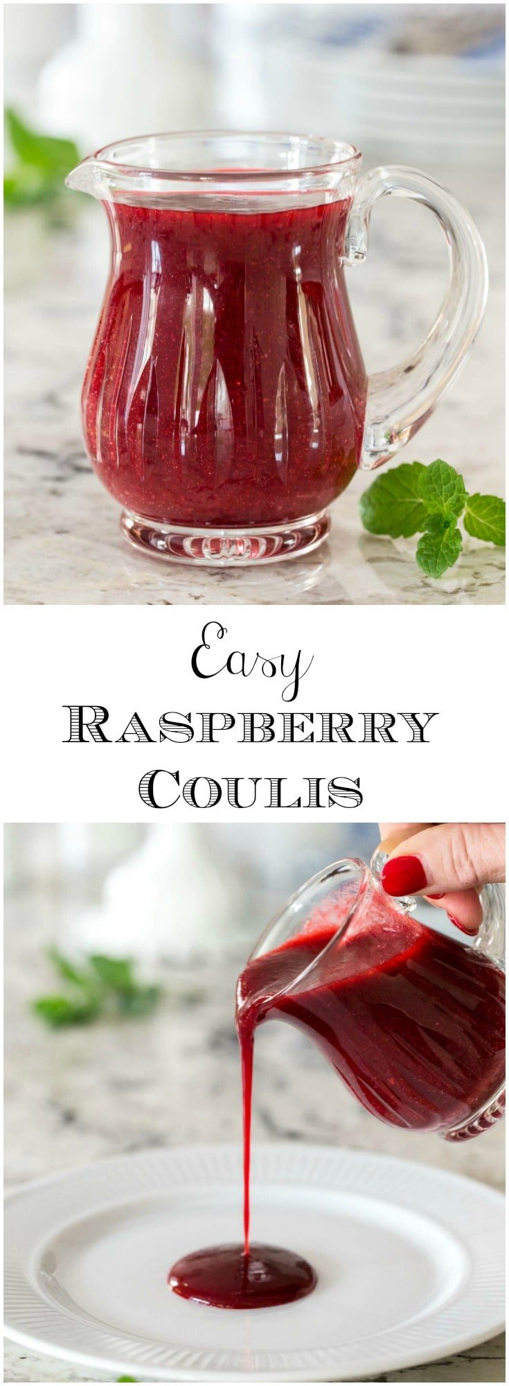 Just a fancy name for a delicious, super versatile raspberry sauce, this Easy Raspberry Coulis pairs fabulously with chocolate and a zillion other desserts!  #raspberrycoulis, #raspberrysauce, #easyraspberrysauce