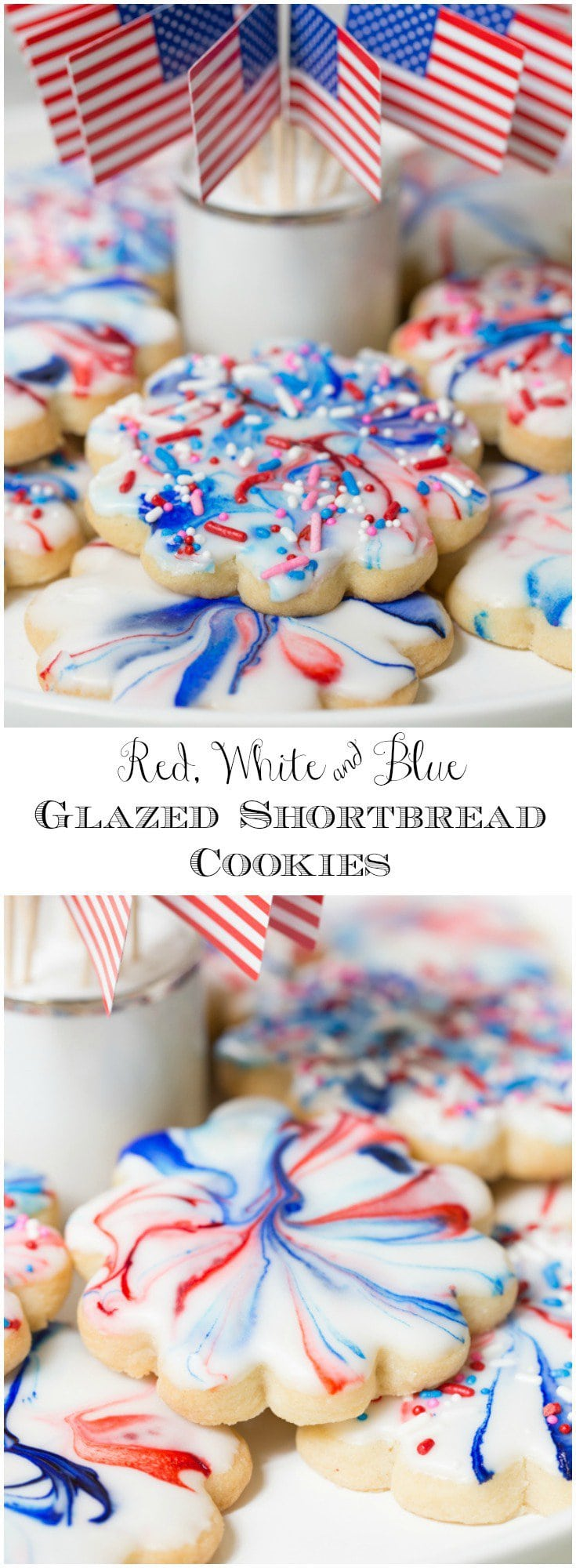These festive, Red, White and Blue Glazed Shortbread Cookies are not only easy, the decorating technique is also very simple.