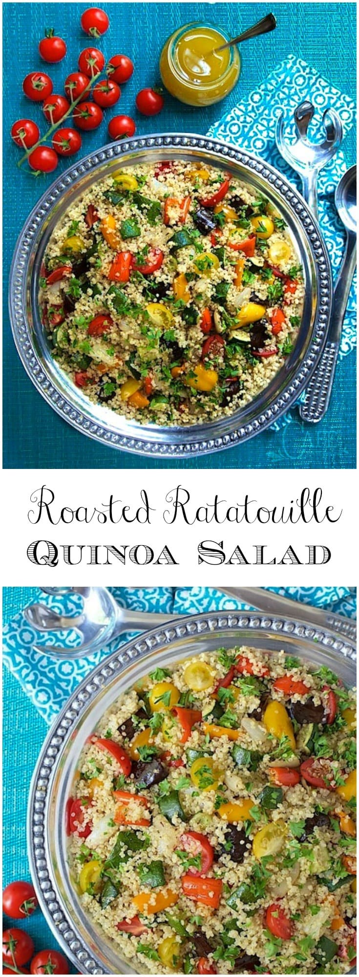 This fabulous Roasted Ratatouille Quinoa Salad is loaded with healthy veggies and makes a perfect side for any grilled or roasted entree