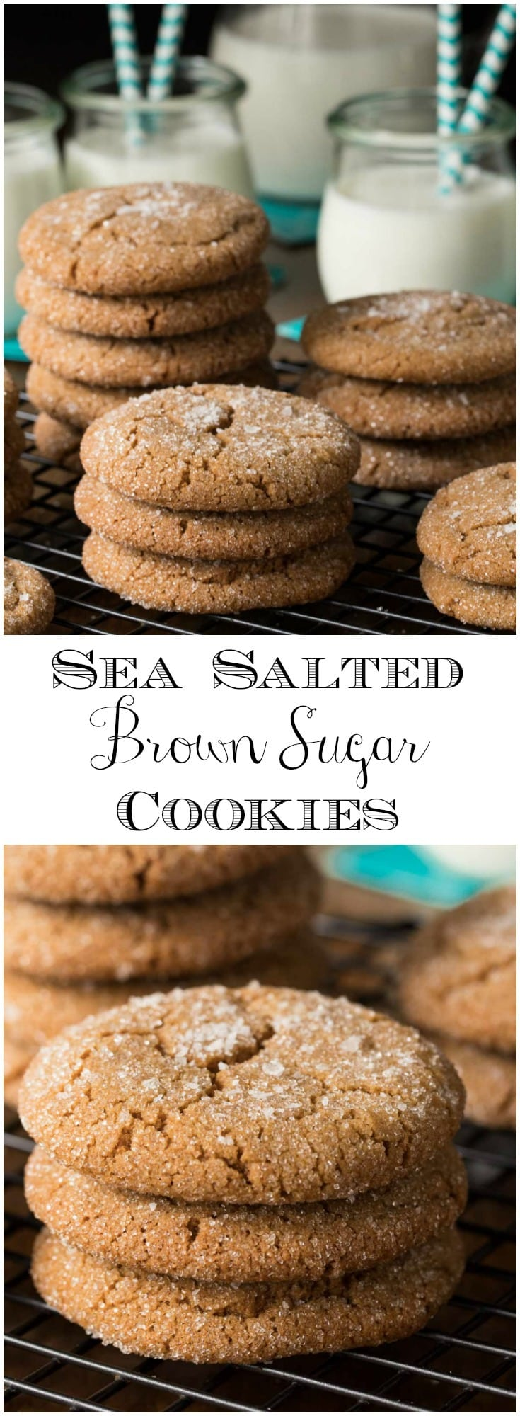 These delicious, one-bowl, no-mixer Sea Salted Brown Sugar Cookies have crispy edges and moist chewy centers!