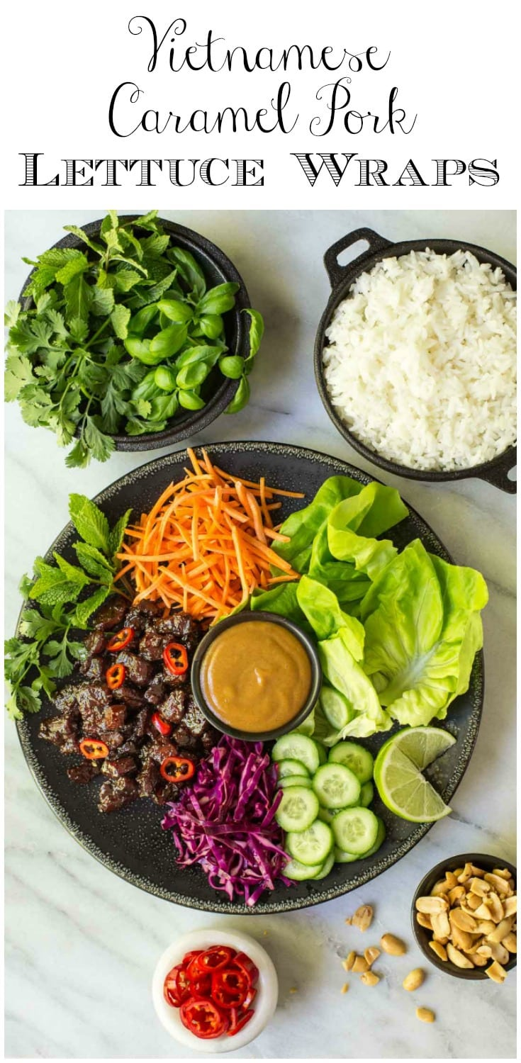 These crazy-delicious Vietnamese Caramel Pork Lettuce Wraps make a fresh, light weeknight meal and are also perfect for a dinner party. #vietnamesefood #lettucewraps