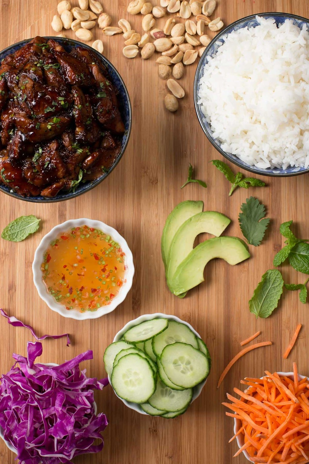 Overhead photo of the separate ingredients used to make Easy Vietnamese Caramelized Pork.