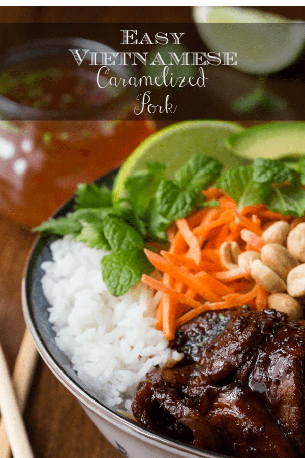 This tender, flavorful Vietnamese Caramelized Pork, made with lean pork tenderloin is much healthier than the classic Asian take-out favorite. #vietnamesecaramelizedpork, #asianpork, #asiantakeout, #makeaheadpork, #asianporktenderoin