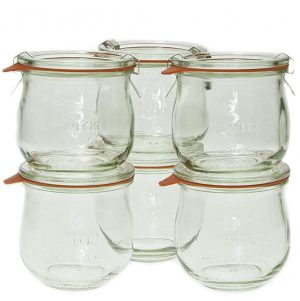 Stock photo of Weck jam and jelly jars.