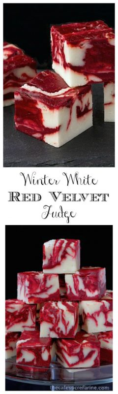 Winter White Red Velvet Fudge - A delicious, beautiful fudge for any season; not just winter! Try it for your next party; or for fun gifts to give relatives, neighbors and friends.