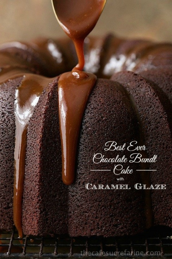 This Best Ever Chocolate Bundt Cake with Caramel Icing is rich, decadent, and super easy to throw together, no mixer necessary! #chocolatebundtcake #bestchocolatecake #caramelicing #easychocolatecake #irishchocolatecake