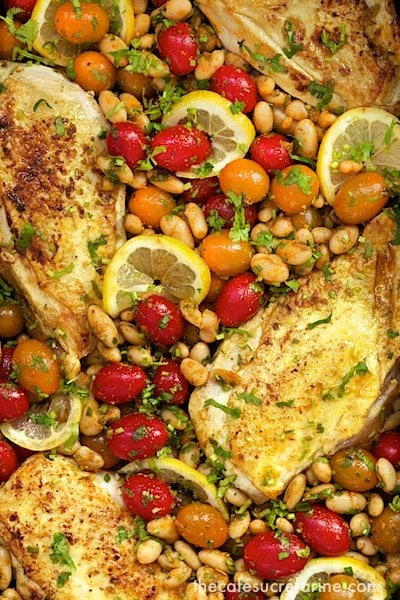 Overhead closeup photo of a dish of Mediterranean Roasted Chicken Breasts.