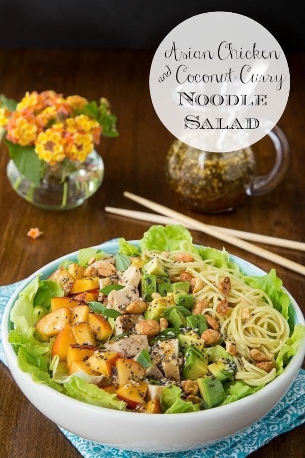 A fabulous Asian-inspired salad with lean chicken and coconut curry noodles; this Asian Chicken and Coconut Curry Noodle Salad is fresh, healthy and crazy-delicious! #asianchickensalad #healthydinnerideas #asianinspired #chickenrecipes