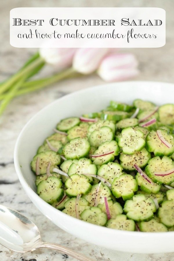 Dress up a salad in minutes with this easy tutorial on how to make cucumber flowers. Plus a recipe for the best cucumber salad ever! #cucumbersalad #cucumberrecipes #howtotutorial #healthyrecipes