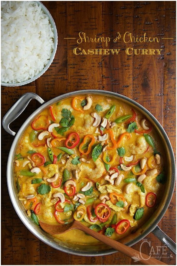 Fresh, light and full of fabulous flavor, this curry is easy enough for everyday dinner and fancy enough for your most special dinner party. #shrimpandchickencurry #curryrecipe