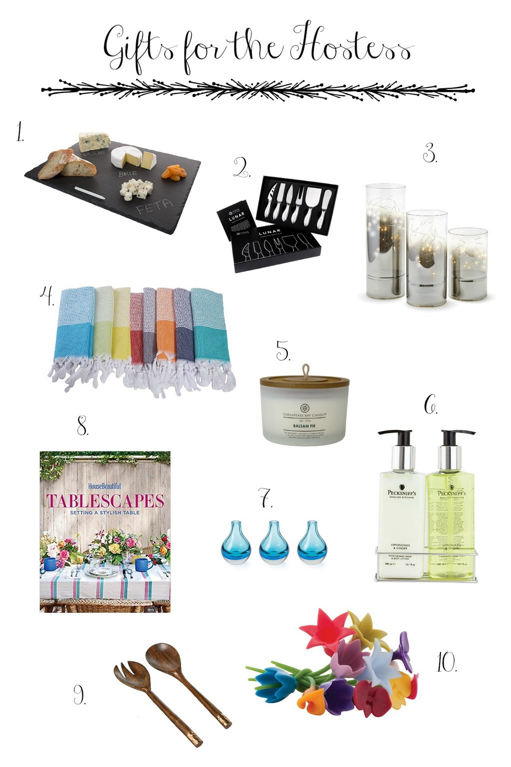 Images of our gift guides for the hostess