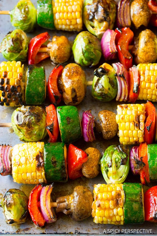 Vertical image of Grilled Fajita Vegetable Skewers.