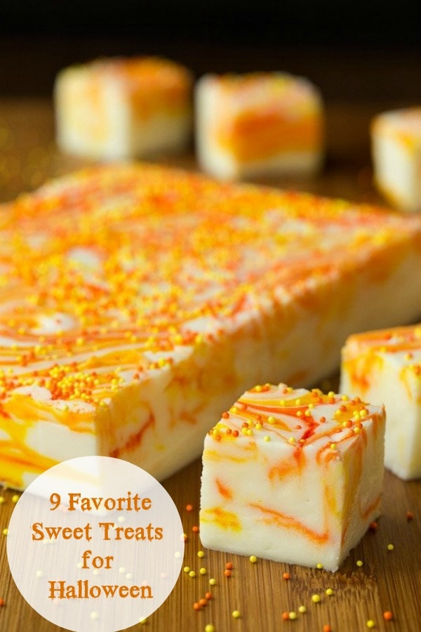 Nine of our favorite, sweet treats, perfect for all your Halloween parties and get-togethers. These festive desserts are a delicious way to celebrate.#halloween #halloweentreats #falldesserts #candyrecipes