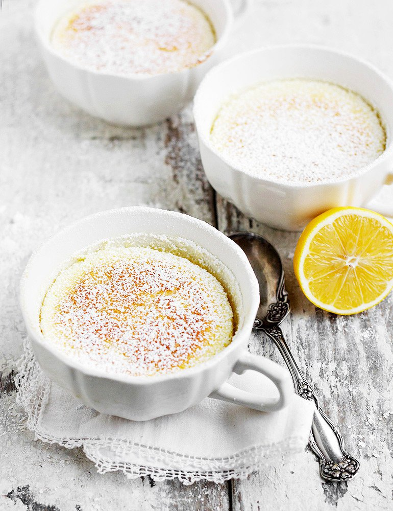 Picture of Warm Lemon Pudding Cakes in mugs