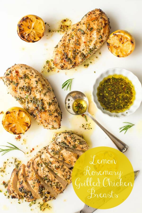 Delicious, juicy tender grilled chicken breast with lots of lemon rosemary flavor. Go from thinking of what's-for-dinner to on-the-table in right around 30 minutes!