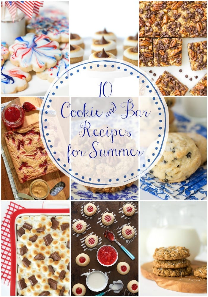 Ten of our favorite cookie and bar recipes, perfect for summer. Any of these recipes would be a hit at your picnic, potluck, or party with friends. #cookiesandbars #summerdesserts #easydessertrecipe